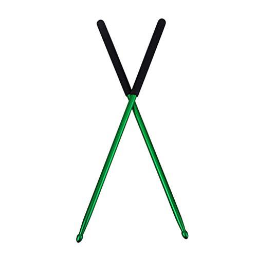 Healifty Aluminium Alloy Drum Sticks Metal Drumstick Anti Rust for Drum Pad Practice Accessories Drummer Supplies 1 Pair (Green)