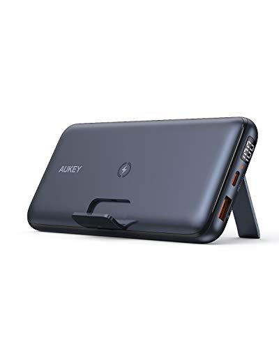 AUKEY USB-C Powerbank, 20000 mAh mobiles Ladegerät für kabelloses Laden mit EIN-/ausklappbarem Ständer, 18W Power Delivery & Quick Charge 3.0 Power Bank für iPhone, Samsung, iPad (Black-1)