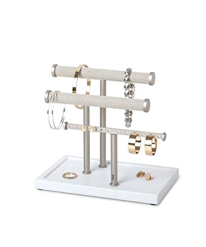 Umbra Trigem Three Tiered Tabletop Organizer for Necklace, Bracelets and Earrings, 3, White/Nickel