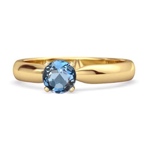 Shine Jewel Multi Elige tu Solitario de Piedras Preciosas Anillo de Plata de Ley 925 Chapado en Oro Amarillo de 0,25 Quilates de Corte Redondo (11, topacio Azul Londres)