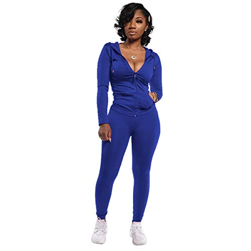POLU 2 Piece Outfits for Women Slim Fit Track Suits Set Hoodies Tops Comfy Leggings Bodycon Sweat Suits Navy Blue L