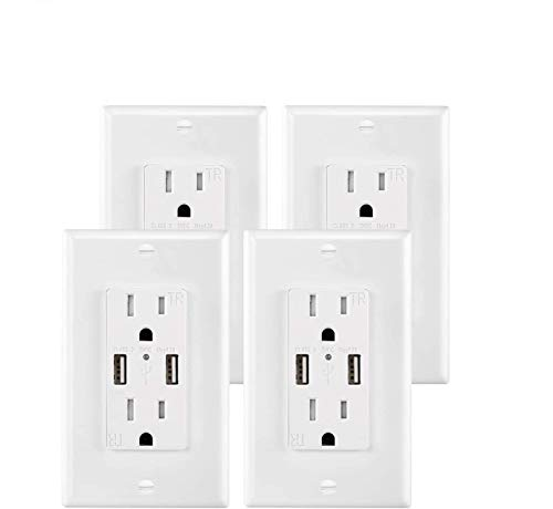 USB Outlet Wall Plate Ports 4 Pack,4.2A Outlet with Usb Port Charger, High Speed Decora Outlet Receptacles with Dual USB Ports 15A 125V 60Hz Tamper Resistant