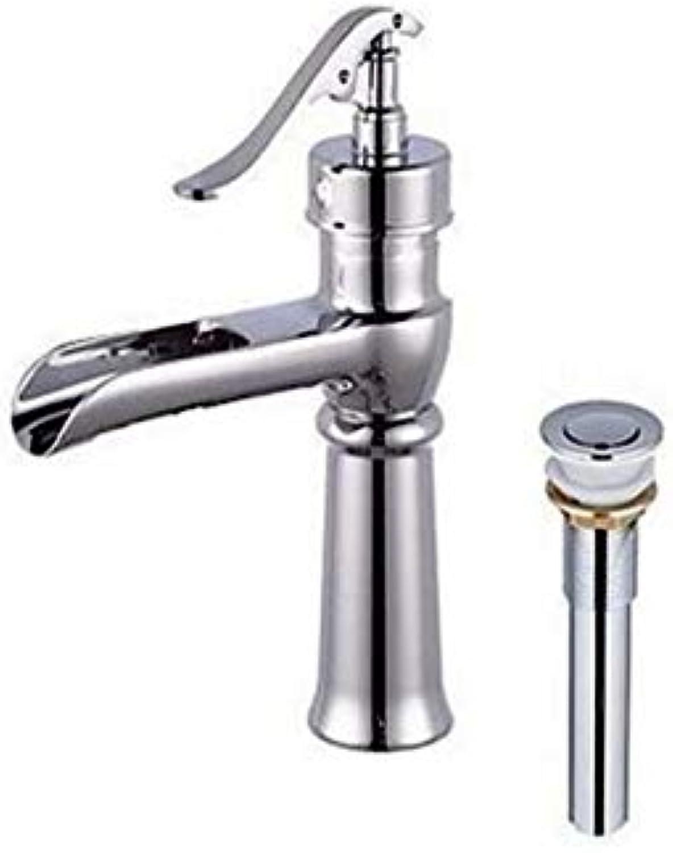 Retro Wasserhahn Wasserfall weit verbreitet Vorspülen mit Keramikventil Einhand-Loch für Chrom Badezimmer