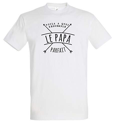 Boutique KKO T-Shirt Humoristique Voilà à Quoi Ressemble Le Papa Parfait Blanc XL