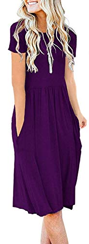 AUSELILY Women's Short Sleeve Pockets Empire Waist Pleated Loose Swing Casual Flare Dress (L,