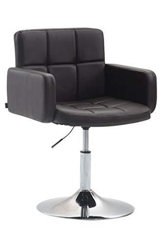 CLP Design Loungesessel LOS Angeles mit Kunstlederbezug | Höhenverstellbarer Esszimmerstuhl mit Trompetenfuß erhältlich, Farbe:braun