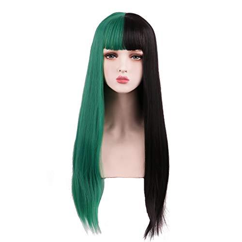 SinRany Long Half Color Wig With Air Bang Halloween Party Wig (Half Black Half Green)