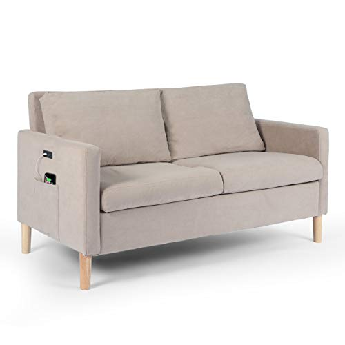 Modern Fabric Loveseat Sofa with 2 USB Charging Ports, Suitable for Small Space Couch, Bedroom Living Room Small Apartment Sofa, Light Gray