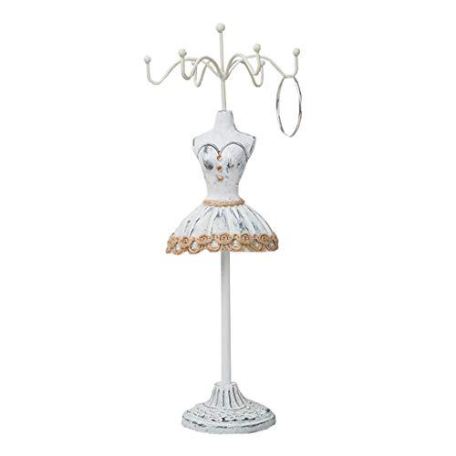 Yushu Figura del cuerpo del maniquí del vestido de la princesa del collar de las orejas, estante desmontable de la exhibición de la joyería del sostenedor para el collar del maniquí de
