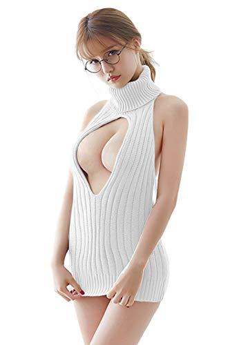 Olanstar Damen Sexy Backless Hollow Out One-Piece Pullover Anime Cosplay Jungfrau Killer Pullover Einteilige Bikini (Weiß Style 2)