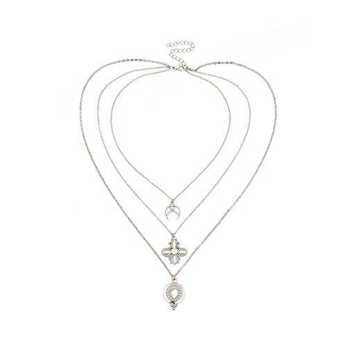 Adisaer Choker Silber Halskette Damen Silber Blumen Weibliche Zeichen Mond Crescent Dreireihig Multilayer 3 Weiß Zirkonia Alltag Choker Kette Für Damen