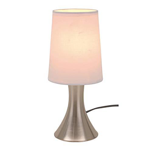 Tischlampe mit Dimmer mit Touch me Funktion 3 Stufen mit Edelstahlfuss mit weissem Lampenschirm