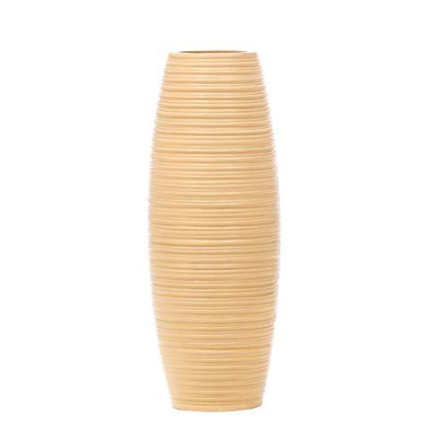 Leewadee jarrón pequeño para el Suelo – Florero bajo y Hecho a Mano de Madera exótica, Recipiente de pie para Ramas Decorativas, 41 cm, Crema