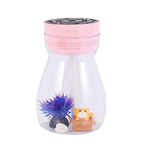 RETTI Nette Kühle Nebel Luft Befeuchter Büro Schlafzimmer Luft Reiniger USB Lade Kawaii Luft Befeuchter mit Led Licht Luft Feuchtigkeits Spendende Flasche (Rosa)
