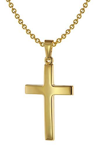 trendor Kreuz-Anhänger 24 mm Gold 585 + Silberkette goldplattiert 50 cm Herren-Halskette, elegantes Geschenk für Männer 75543