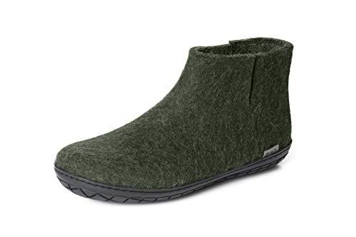 glerups dk Modell GR-02 Unisex-Erwachsene Filz-Stiefel, Damen,Herren Huettenschuhe, Stiefel lammfell Schafwolle warm Winter Damen,Forest,39 EU / 6 UK