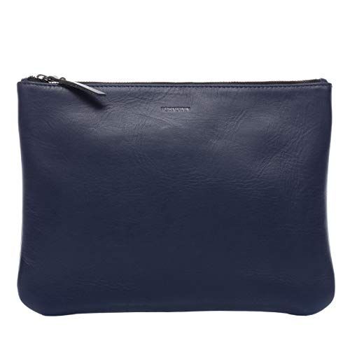 FEYNSINN Kosmetiktasche echt Leder Mel Schminktasche Make-Up Tasche Ledertasche Damen blau