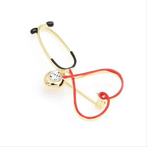 XZFCBH strass rött hjärta stetoskop broscher kvinnor män personlighet sjukhus läkare brosch nålar