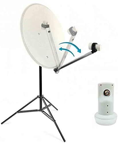 Kit Camping Car Parabole Satellite Acier 60cm avec Bras Repliable + LNB Single Trepied
