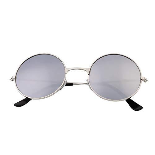 Mujer Hombre Colorido Lente de Espejo Gafas Redondas Gafas de Sol Unisex Vintage Blanco