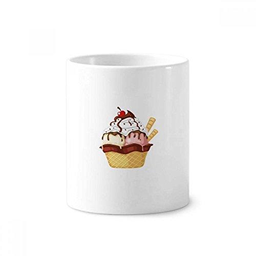 DIYthinker Koekjes Kers Chocolade Ijs Keramische Tandenborstel Pen Houder Mok Wit Cup 350ml Gift 9,6 cm hoog x 8,2 cm diameter