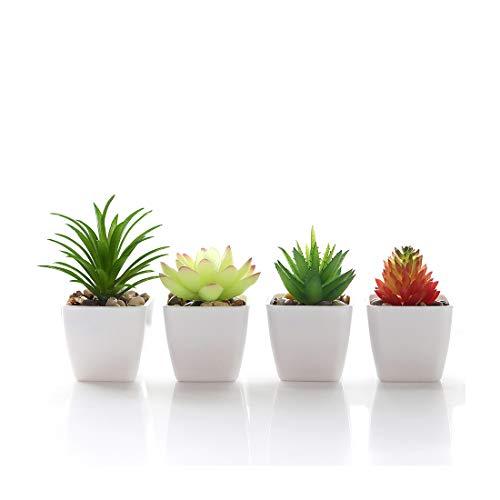 Veryhome Fake Suculentas Plantas Artificiales En Macetas En Mini Macetas Cuadradas Blancas para...