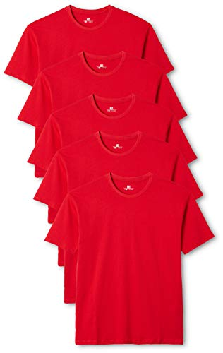 Lower East Herren T-Shirt mit Rundhalsausschnitt, Rot(Rot), Small, 5er Pack