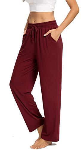 ARRIVE GUIDE Womens Yoga Sweatpants Comfy Lounge Pants with Pockets Wide Leg Drawstring Loose Workout Joggers Casual Pajama Pants Elastic Waist Burgundy M