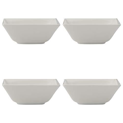 Maxwell Williams Wit Basics Lineaire Bowls voor Snacks of Rijst, Vierkant, Porselein, Wit, 4 Stuks Keramische Bowl Set
