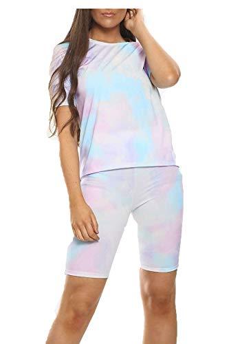Islander Fashions Femmes Tie Dye Serpent Imprimer T-Shirt Shorts Femme v�Tements d'�t� 2Pcs Co Ord Set Tie Dye Light Blue Small/Medium