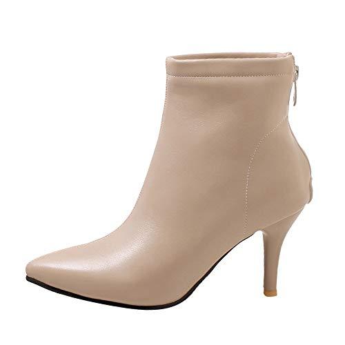 DOLDOA Stiefel Damen,Damenschuhe mit Spitzen Zehen Seitlicher Reißverschluss Hoher Absatz Kurze Plüsch-Mode-Stiefeletten Schwarz, Grün, Beige
