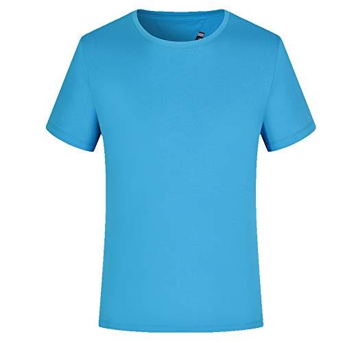 Camiseta de algodón puro personalizada, cuello redondo, manga corta, para publicidad, ropa de trabajo Azul azul XXL