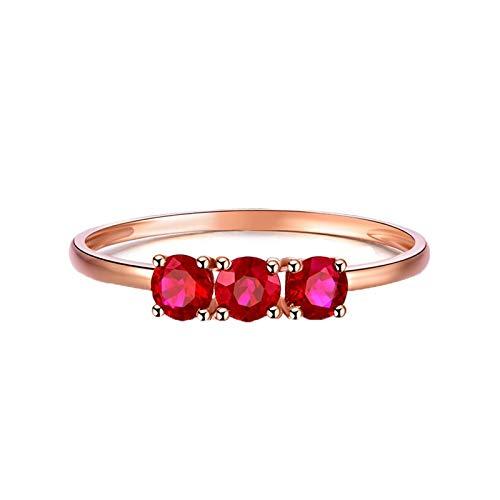 Bishilin Alianzas Oro Rosa 750 Clásico Bandas de Boda Rojo Rubí Anillo de La Banda de Bodas de Compromiso de Aniversario Ajuste Cómodo Forma Redonda Regalo de Amistad Presente Rosegold Rojo