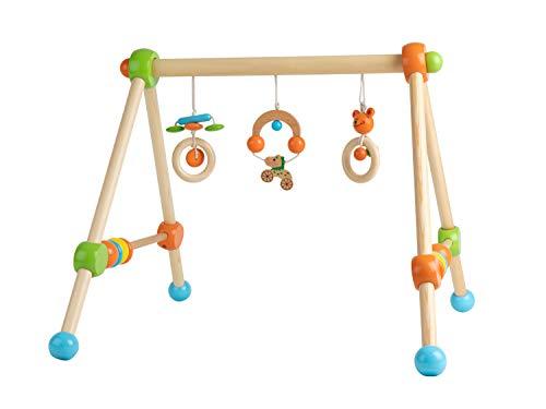 Bieco Spieltrapez | Spielbogen für Babys -Figuren, Rasseln, Kugeln | Spielebogen Holz Baby | Spieltrapez Holz | Baby Mobile Holz | Activity Center Baby Gym | Holzspielzeug Baby | Baby Spielzeug