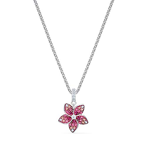 Swarovski Pendente Tropical Flower, Rosa, Placcato Rodio