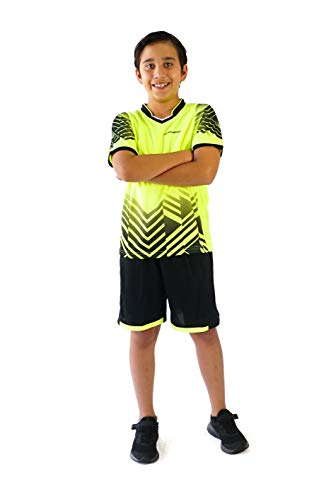 PAIRFORMANCE Boys' Soccer Jerseys Sports Team Training Uniform| Age 4-12 |Boys-Girls-Youth Sport Shirts and Shorts Set (Medium, Green)