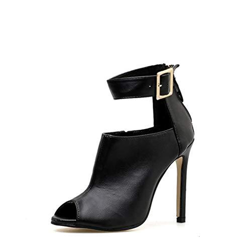 MKXF Además Zapatos Botas de Moda de Las Mujeres de Talla Sandalias de tacón Alto,Negro,36