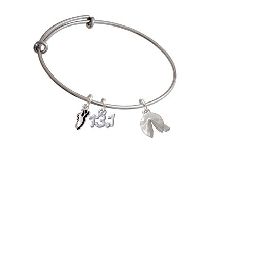 Delight Jewelry Silvertone 3-D Fortune Cookie Running Shoe and 13.1 Expandable Bangle Bracelet