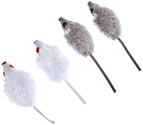 Kerbl 84255 Maus, 4er- Beutel, 5 cm, grau/weiß