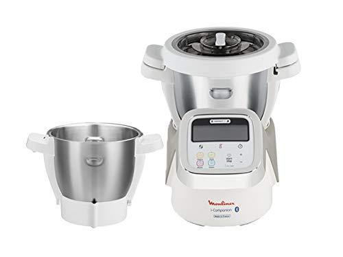 Moulinex i-Companion HF900110 - Robot de cocina Bluetooth 13 programas, hasta 6 personas, con picadora, batidor, mezclador, amasador, triturador y cesta de vapor, cortador + vapor + bol de 3 L