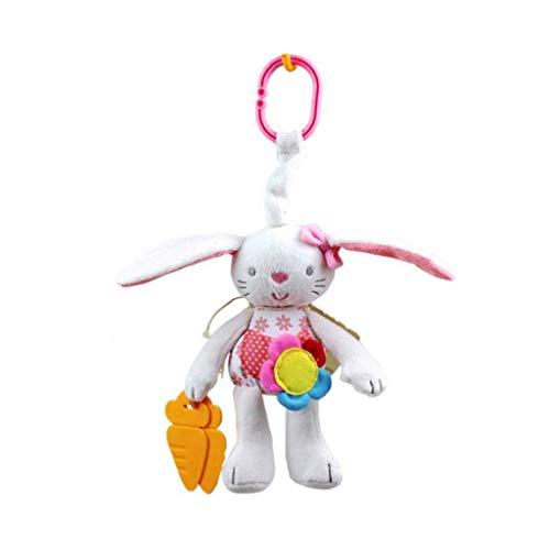 1 UNID Adorable Conejo Cochecito de bebé Juguetes Juguetes Lavables Sillón de Asiento de Coche Dientes suaves Detectores para niños Cuna Cuna Colgando Juguete con Espejo Para Auto Discovery (13.7x5.6i