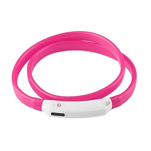 KUIDAMOS Collar para Perros, con Luces LED, cómodo de Llevar, Correa para el Cuello para Perros(Pink)