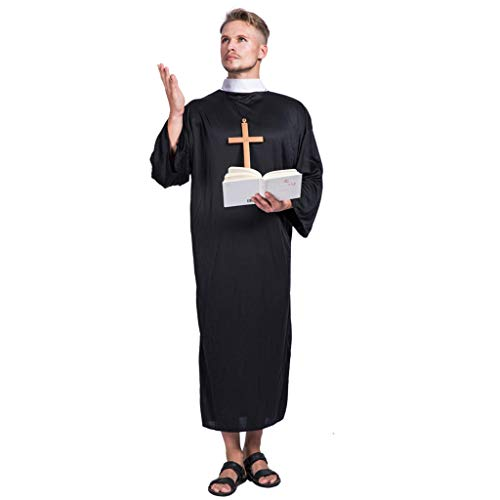 EraSpooky Men's Priest Vicar Costume Fancy Dress Friar Monk Robe Cosplay Halloween Party Funny Outfit for Adult Men