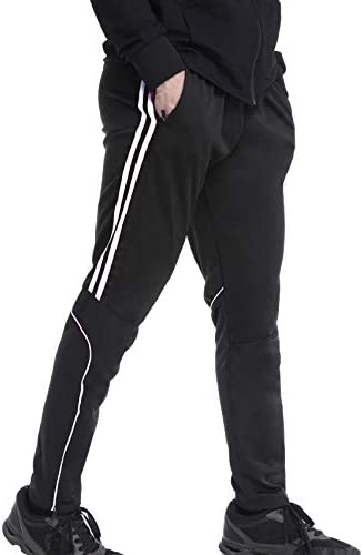 RIOJOY Men s Athletic Track Pants Slim Fit Jogger 2 Stripe Running Pants with Zipper Pockets product image