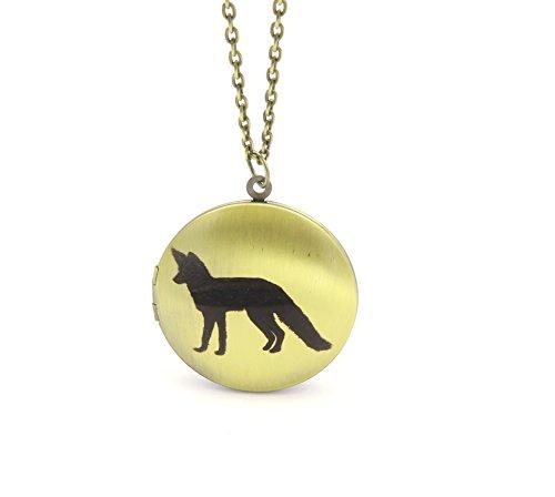 schmuck-stadt Fuchs Silhouetten Amulett Kette 60 cm Foto Medallion Bronze-Farben