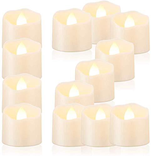 LED Kerzen, Freepower LED Tee Lichter flammenlose Kerzen mit Timer, elektrische flackernde batteriebetriebene Kerzen, Automatikmodus: 6 Stunden an und 18 Stunden aus, 3.2x3.6 cm, [12 Stück, Warm-weiß]