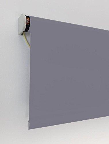Estor enrollable OSCURECEDOR PREMIUM CON MOTOR PARA PULSADOR (desde 80 hasta 450 cm de ancho) El tejido cierra prácticamente el paso de la luz y no permite ver el exterior/interior. Color gris oscuro. Medida 110cm x 200cm para ventanas y puertas