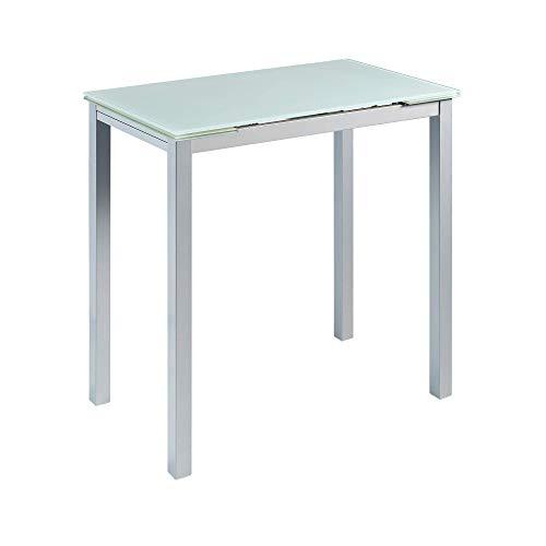 MOMMA HOME Mesa de Cocina Extensible - Modelo CALCUTA Alta - Color Blanco/Plata - Material Cristal Templado/Metal - Medidas 140 x 60 x 95 cm