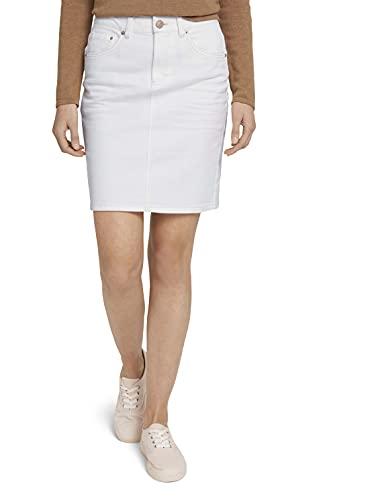 TOM TAILOR Damen 1025854 Basic Jeansrock, 10315-Whisper White, 36