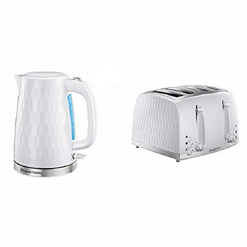 Russell Hobbs Honeycomb Kettle and 4 Slice Toaster, White